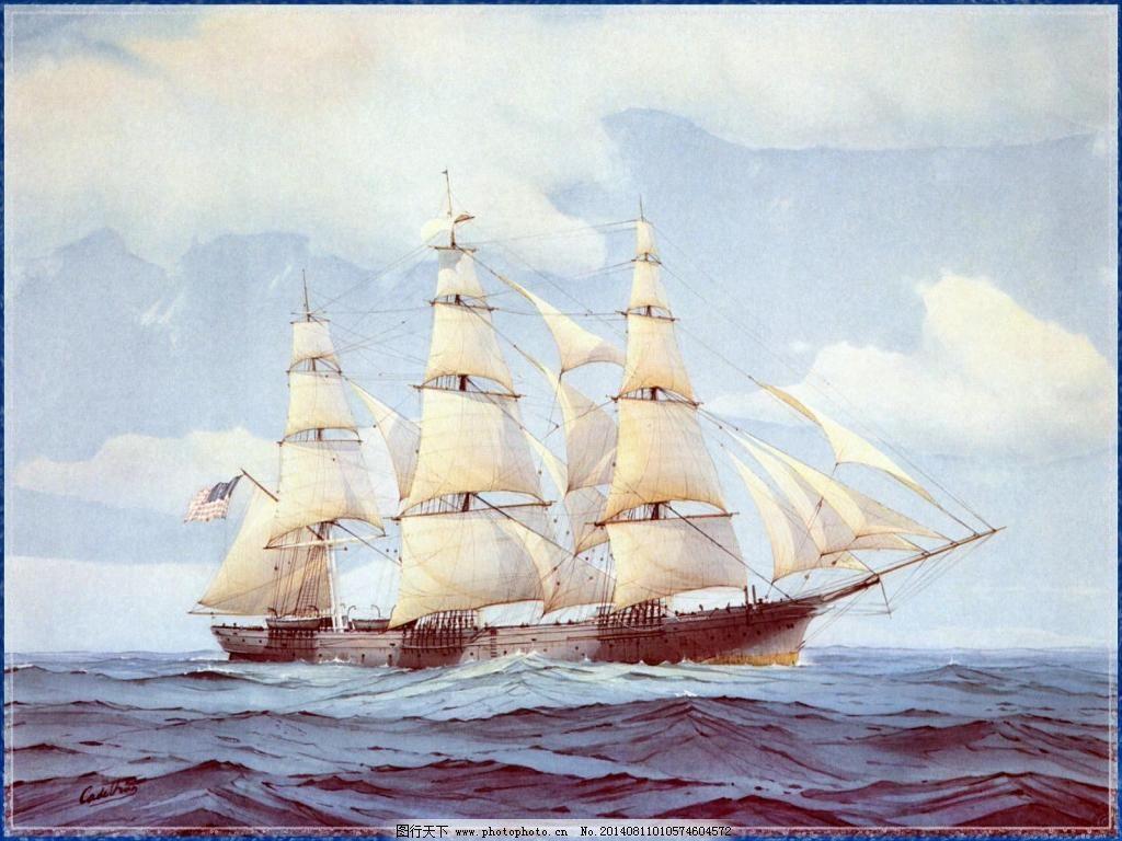 海洋三桅帆船