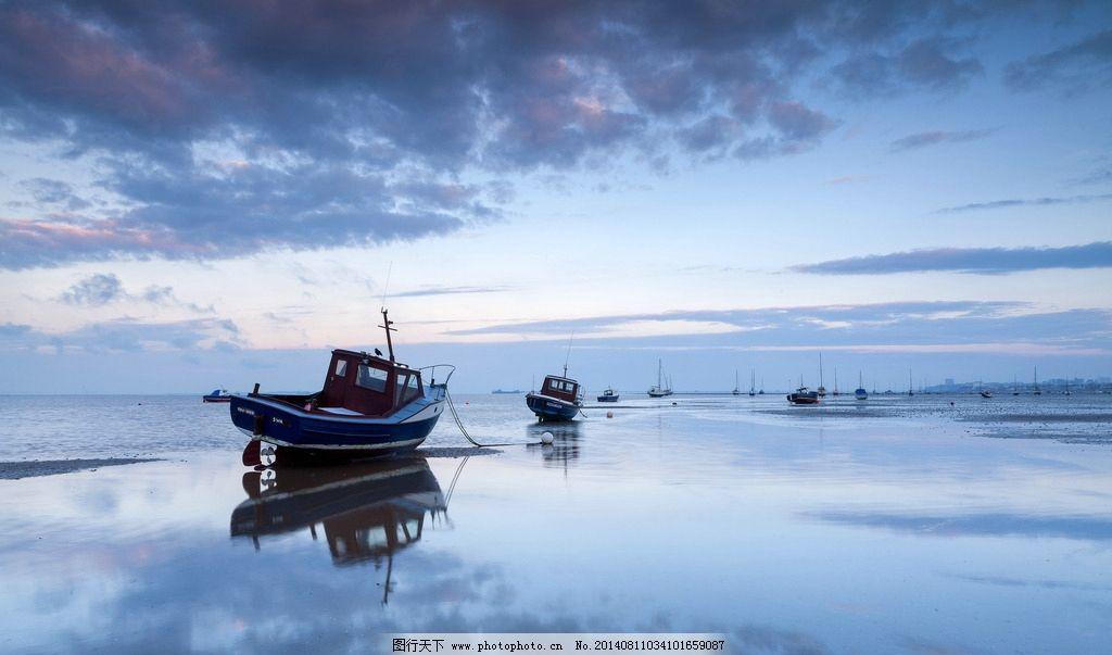 唯美 海边 高清 壁纸 大海 蓝天 白云 清晨 船只 倒影 风景摄影 自然