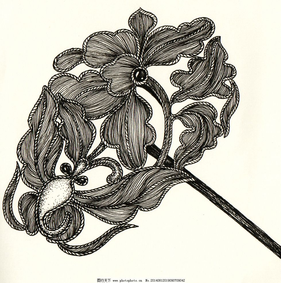 蝶恋花 插画 饰品设计 如意 蝴蝶 发簪 银饰 黑白画 手绘