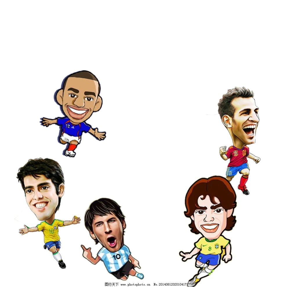 世界杯球星 动谩球星 卡通人物 海报 原文件 卡通设计 广告设计图片