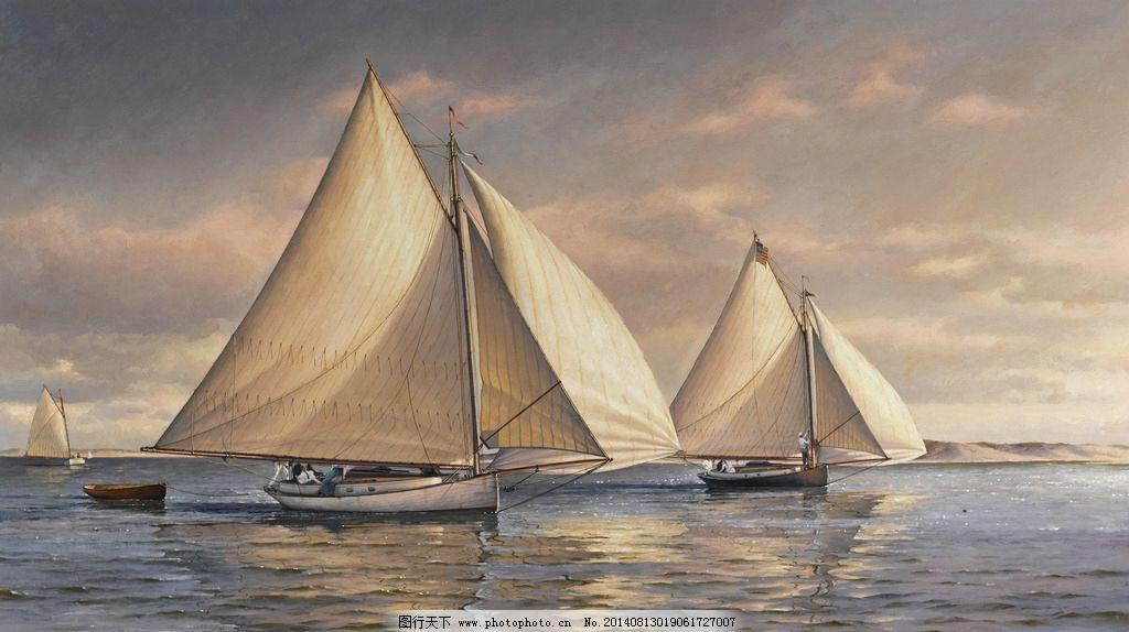 帆船 航海时代 宁静 海面上 夕阳西下 欧洲 19世纪油画 油画 绘画书法图片