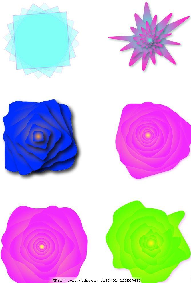 简单重复旋转构成 简单图形旋转 花 flower 正方形 玫瑰花 矢量图