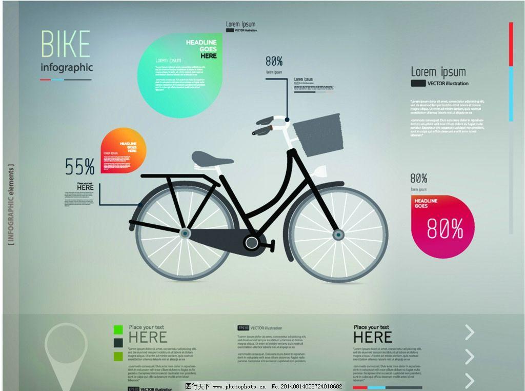 自行车插画 手绘自行车
