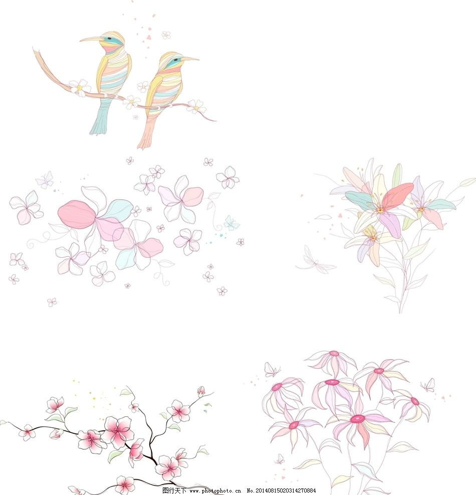 线条花朵 木兰花 梅花 桃花 喜鹊 小鸟 矢量花朵 花边花纹 底纹边框