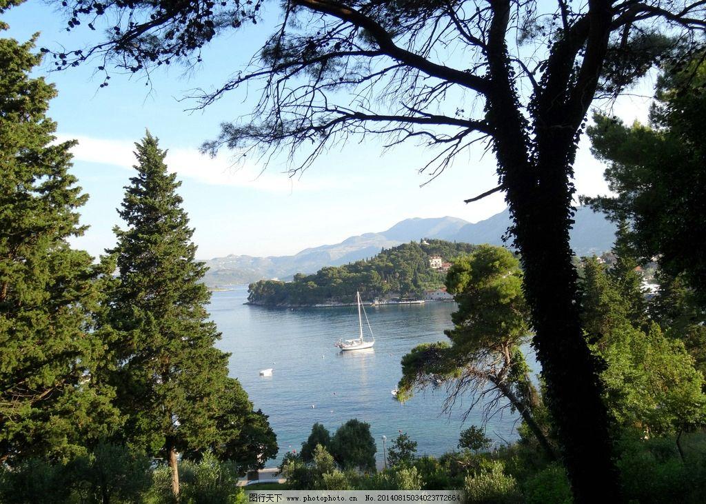 海岛 克罗地亚 亚得里亚海 岛屿 森林 游船 海湾 克罗地亚风光 国外