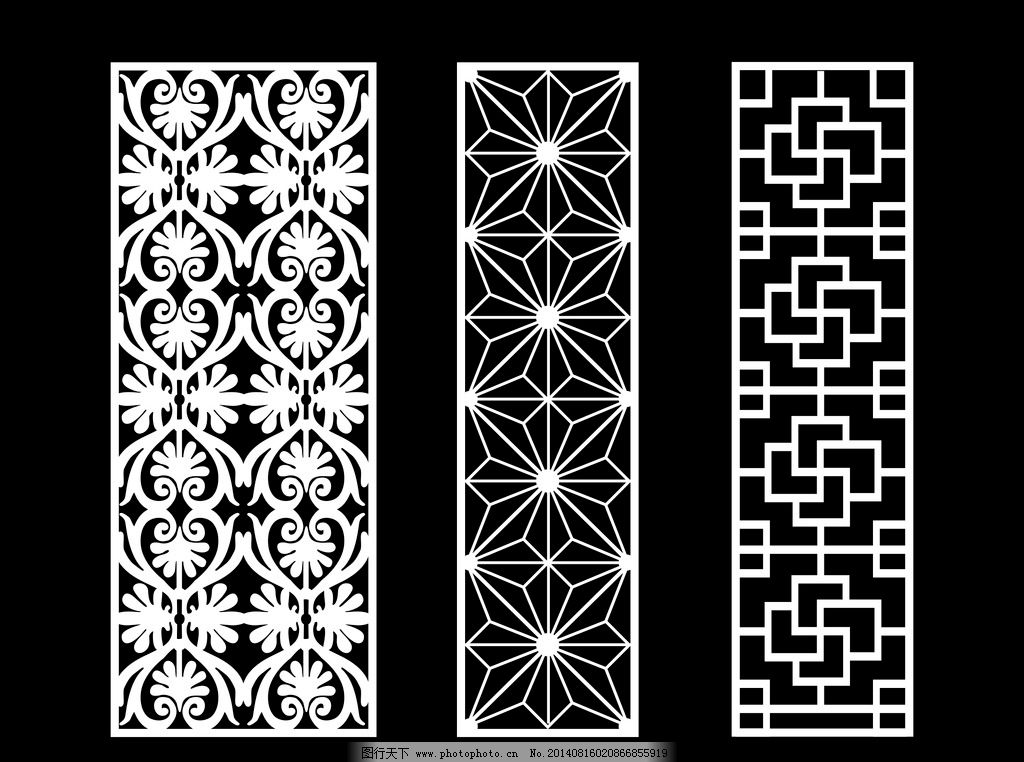 镂空雕刻图案 镂空花边图案 镂空隔断矢量 其他素材 底纹边框 设计