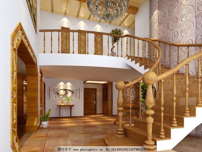 别墅楼梯地板木地板别墅书房图片5