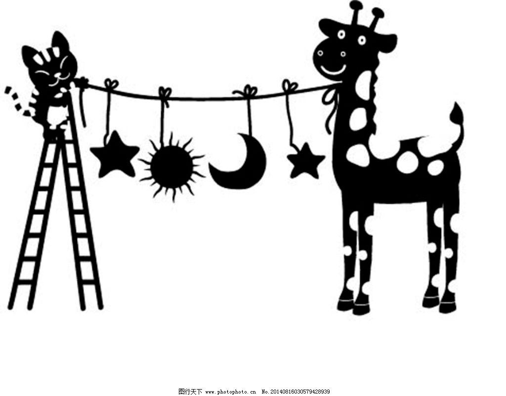 小鹿 星星太阳月亮图片图片