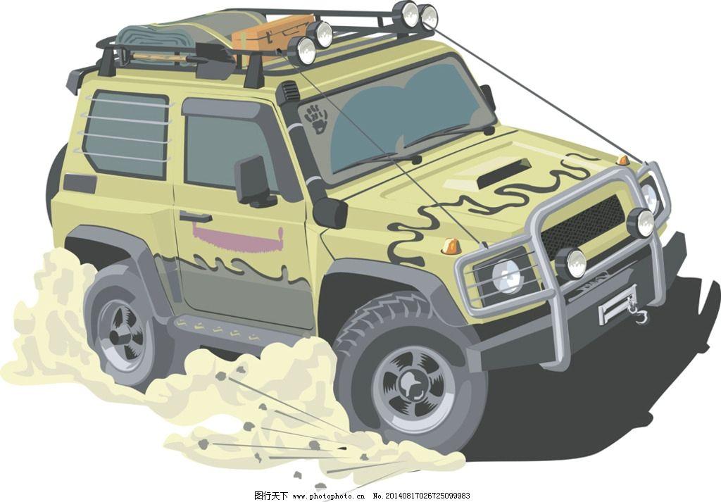 越野车 吉普车 手绘 汽车 四驱赛车 交通工具 现代科技 矢量 eps 设计