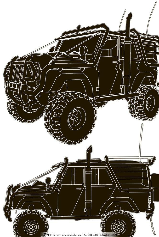 越野车 吉普车 手绘 汽车