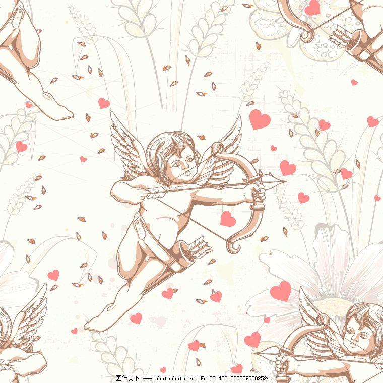 爱 欧式 情人节 丘比特 射箭 手绘 鲜花 小麦 射箭 丘比特 欧式 鲜花