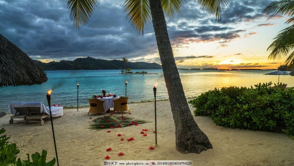 海滨二人晚餐 海滨 二人 晚餐 烛光晚餐 渡假 休闲 椰子树 国外旅游