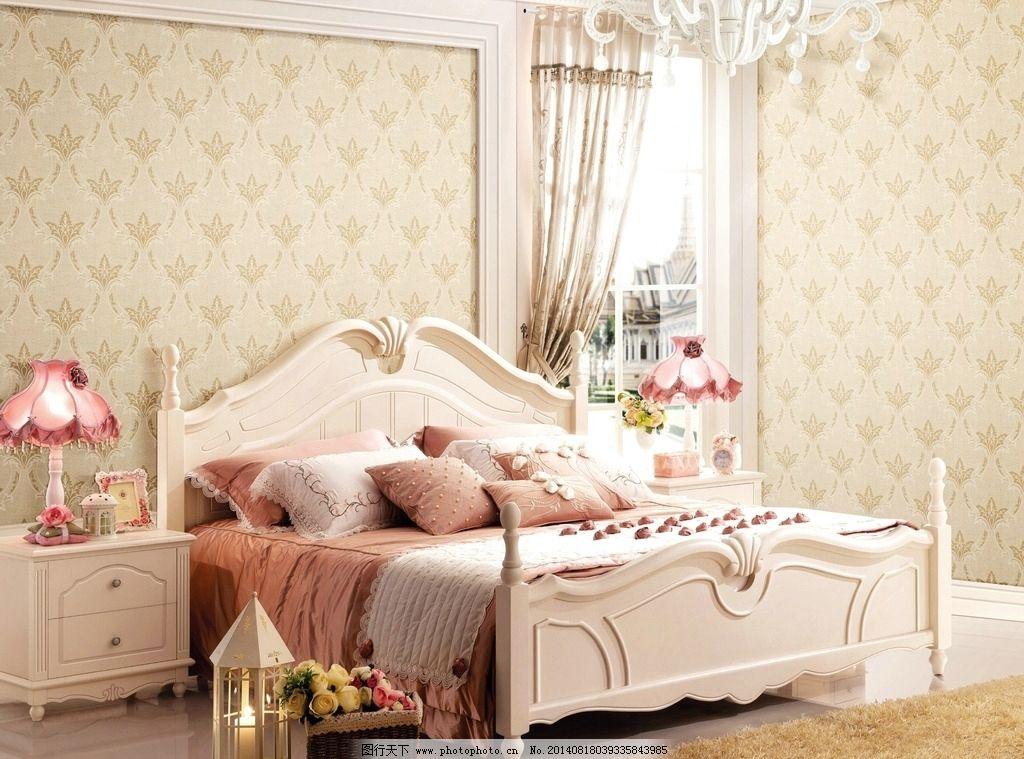 欧式大床 大床 无缝墙布 壁纸 室内装修 墙布 墙纸 室内摄影 建筑园林