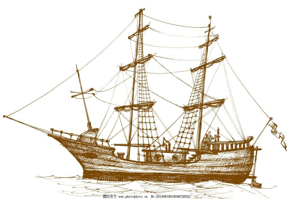 手绘古欧式帆船图片