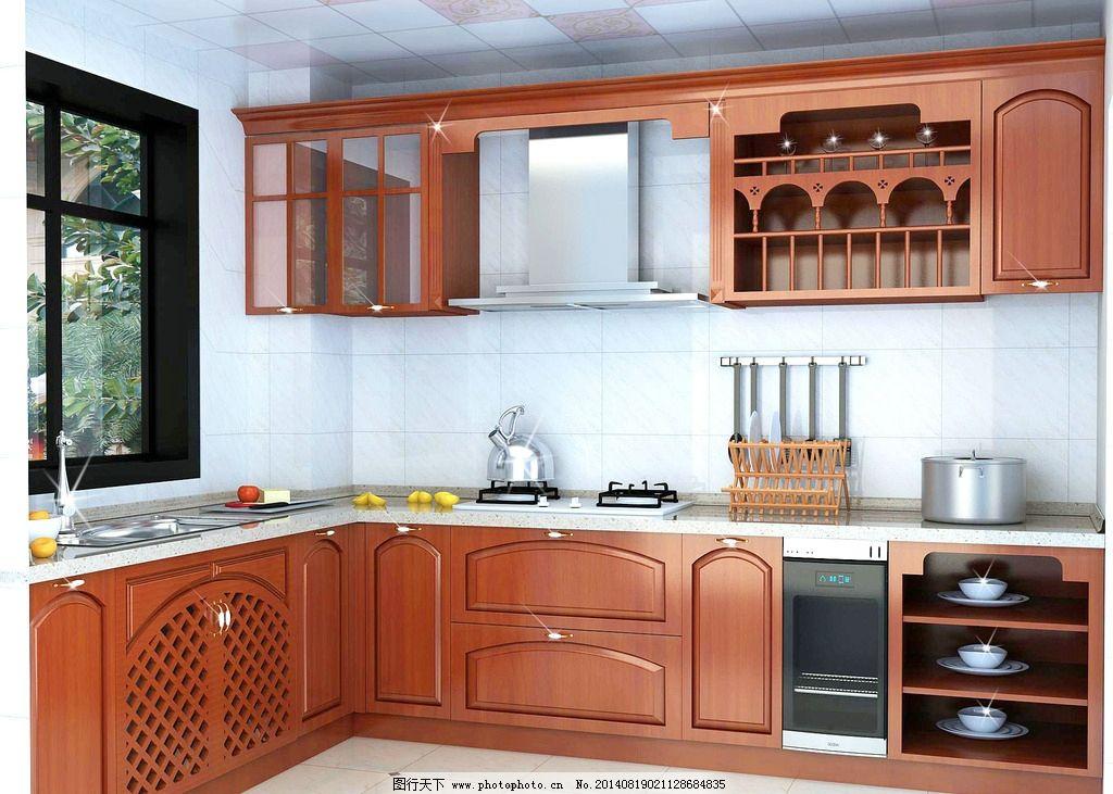 实木厨柜效果图 l型厨房 实木厨柜 碗盘柜 玻璃门 米箱 欧式风格 中式