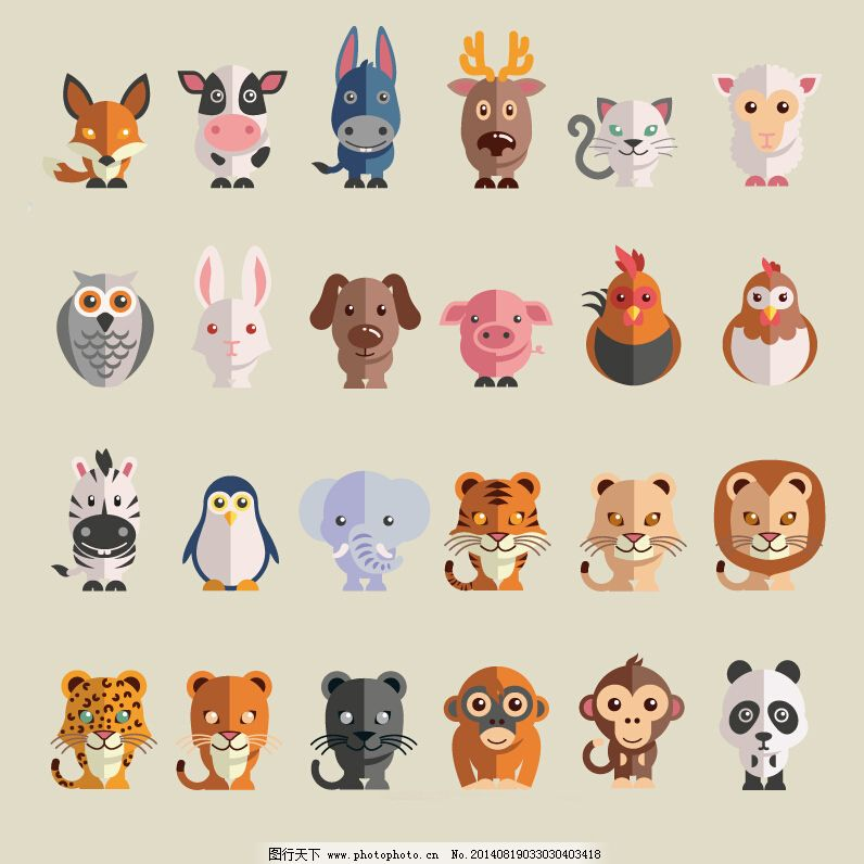 十二生肖 十二生肖免费下载 动物 卡通 鸟 平面 禽兽