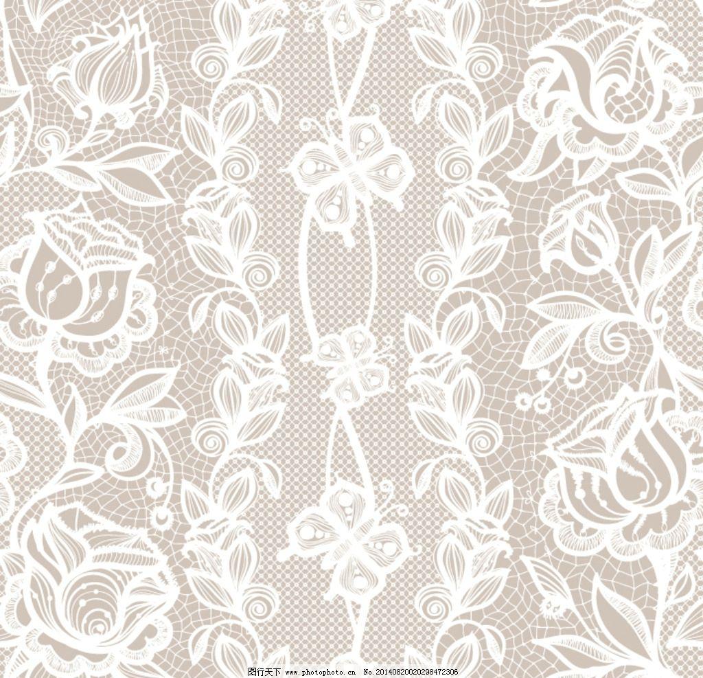 花朵 花饰 欧式 复古 浪漫 时尚 蕾丝 蕾丝花边 花边花纹 白色 背景