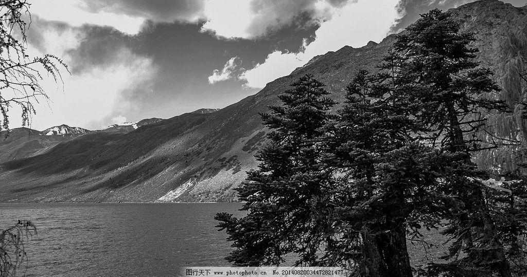 黑白摄影 风景片 海螺沟 群山 森林 大山 湖泊 黑白片 山水风景 自然