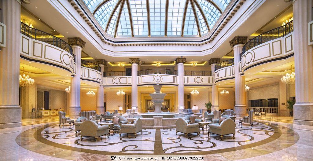 五星酒店大堂 五星级 酒店大堂 欧式风格 喷泉 豪华 室内摄影 建筑图片