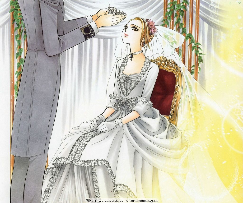 动漫新娘 婚纱 头冠 椅子