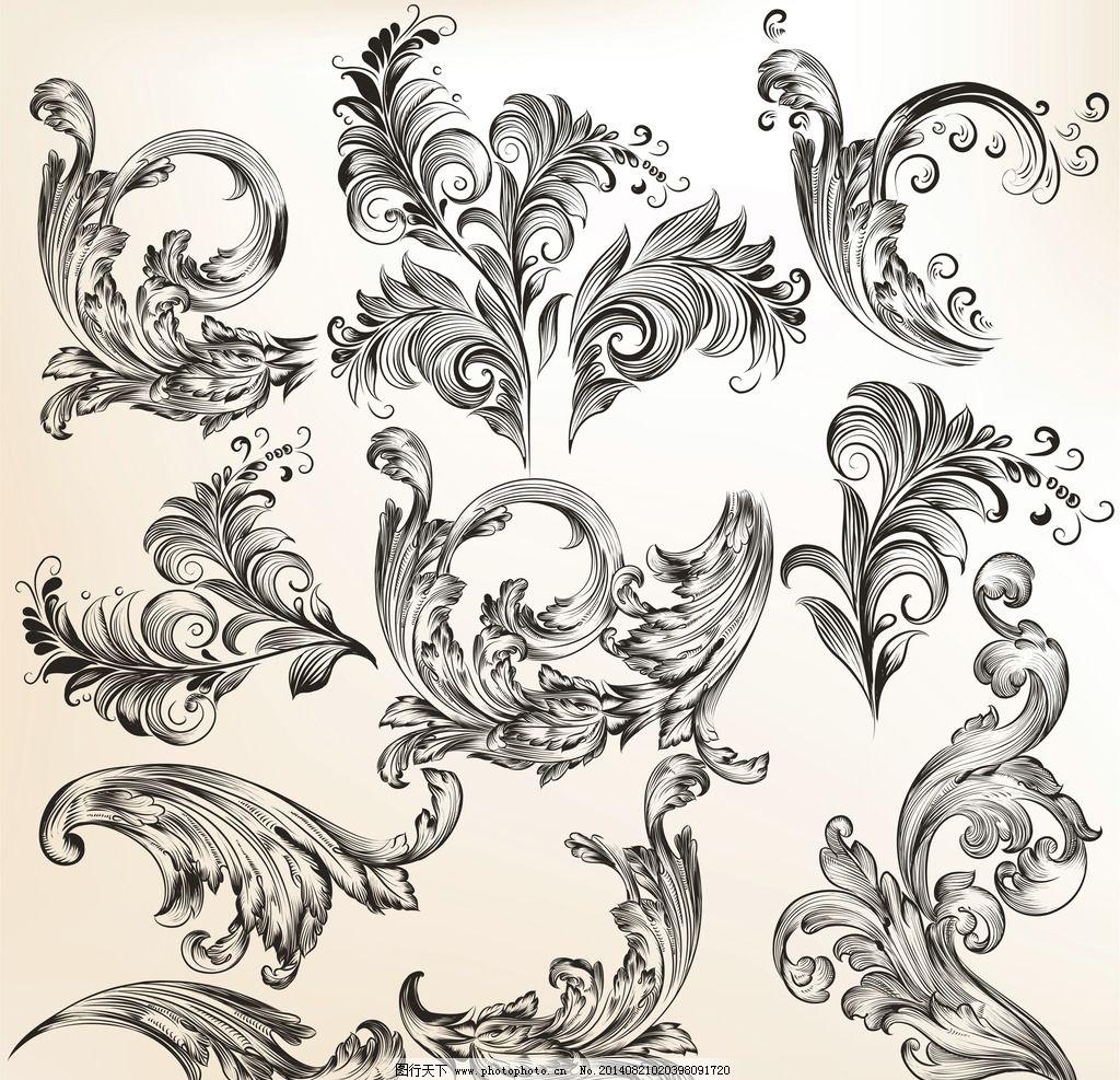 复古装饰 古典花纹 植物花纹 欧式花纹 花纹 花纹边框 建筑花纹 手绘