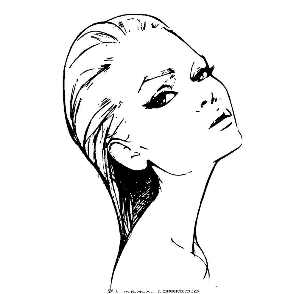 手绘美女 插画 美女 线条 线绘 黑白 简单 图片素材 其他 设计 ai