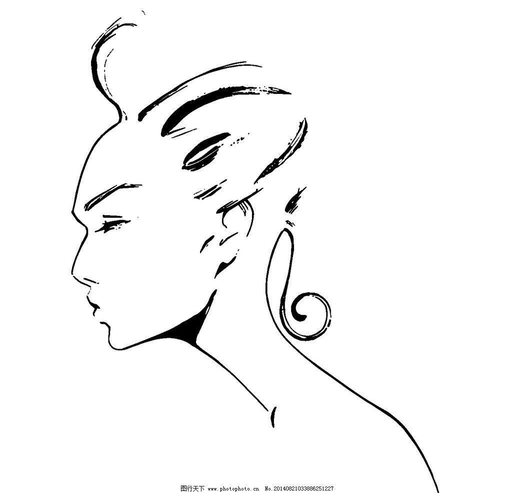 手绘美女 插画 美女 线条