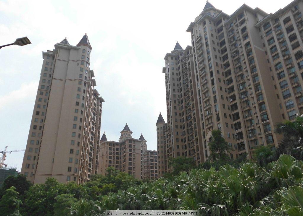 高楼大厦 树木 房地产图片