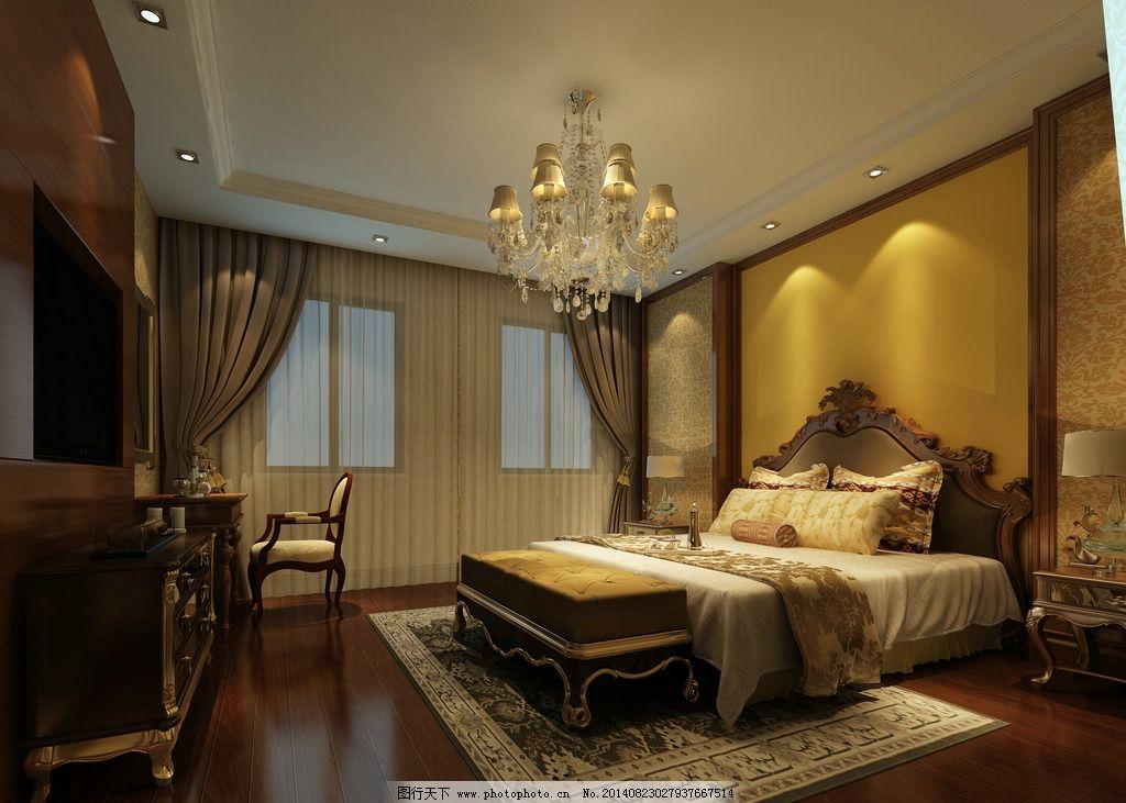 欧式主卧 主卧室 欧式 水晶灯 床 背景墙 室内设计 环境设计 设计 300