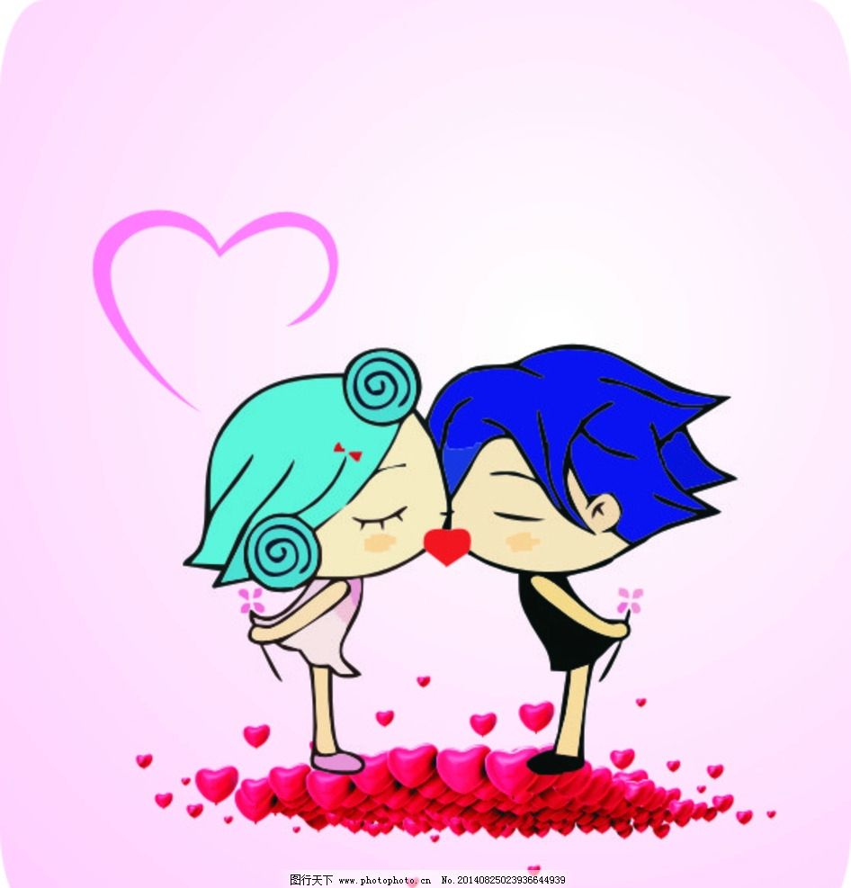 矢量爱情小人 q版情侣 卡通情侣 爱情小人 爱心 情侣 亲吻 亲亲 两个