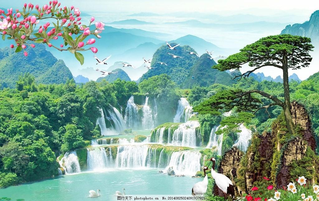 松鹤延年 山水 风景 山水风景画 山水画 青山绿水 高山流水 景观 装饰