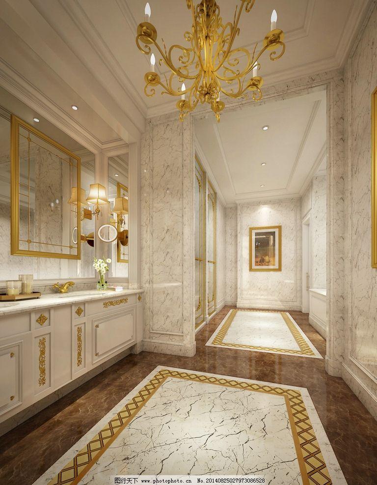 欧式卫生间 欧式 石材墙面 奢华 地拼 白色调 室内设计 环境设计 设计图片