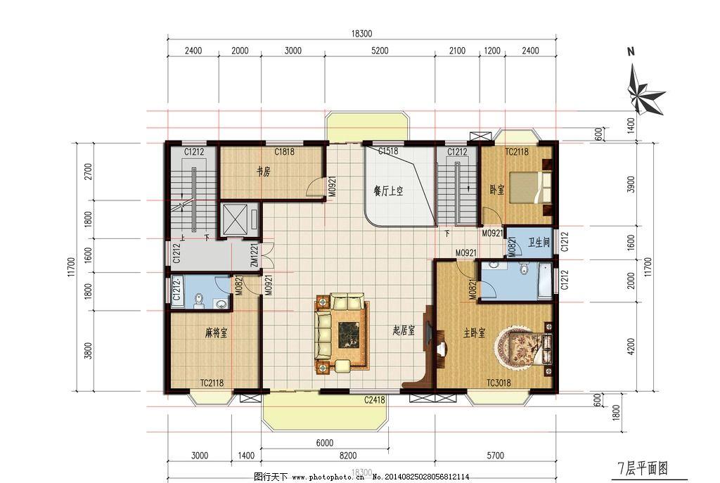 8层别墅设计图7层平面 别墅