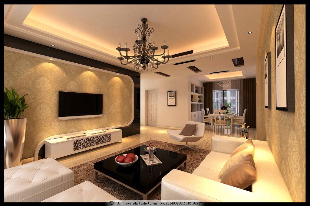 电视背景墙 吊灯 墙纸 室内设计 环境设计 沙发 窗户 电视机