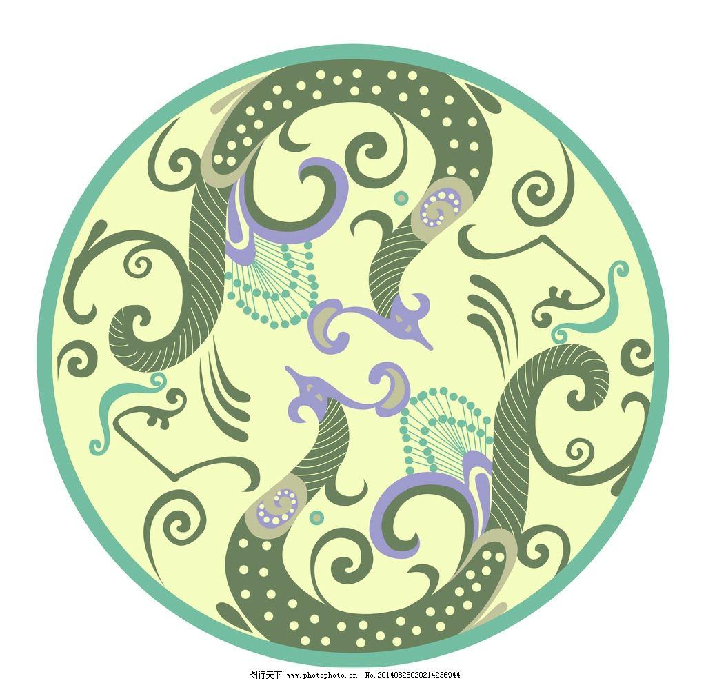 古典凤凰纹 圆形底纹 古典 吉祥动物 凤纹矢量 吉祥图像 炫彩 纹样