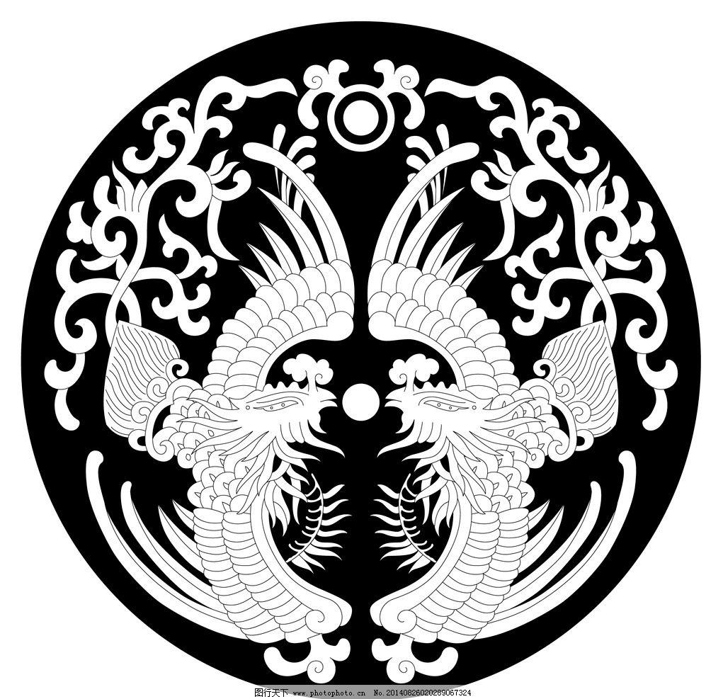 圆形底纹 古典 吉祥动物