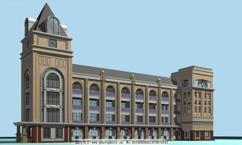 欧式古典尖顶公共建筑3d立体模型