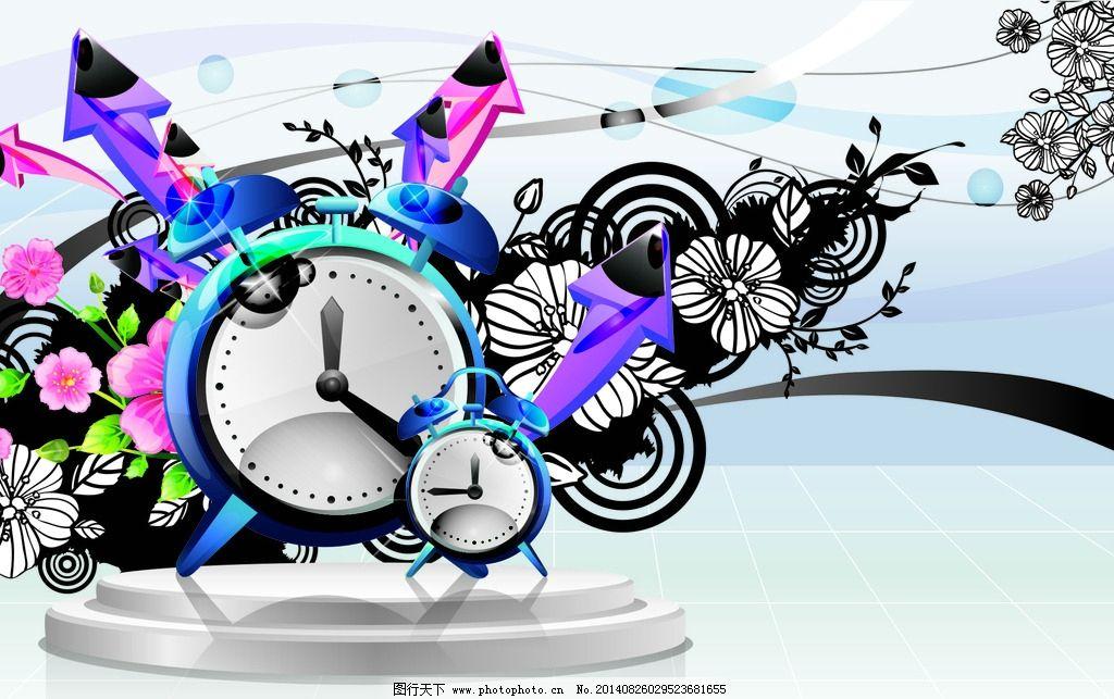闹钟 电子科技 花纹背景 线描花朵 绚丽鲜花 手机 鼠标 显示器