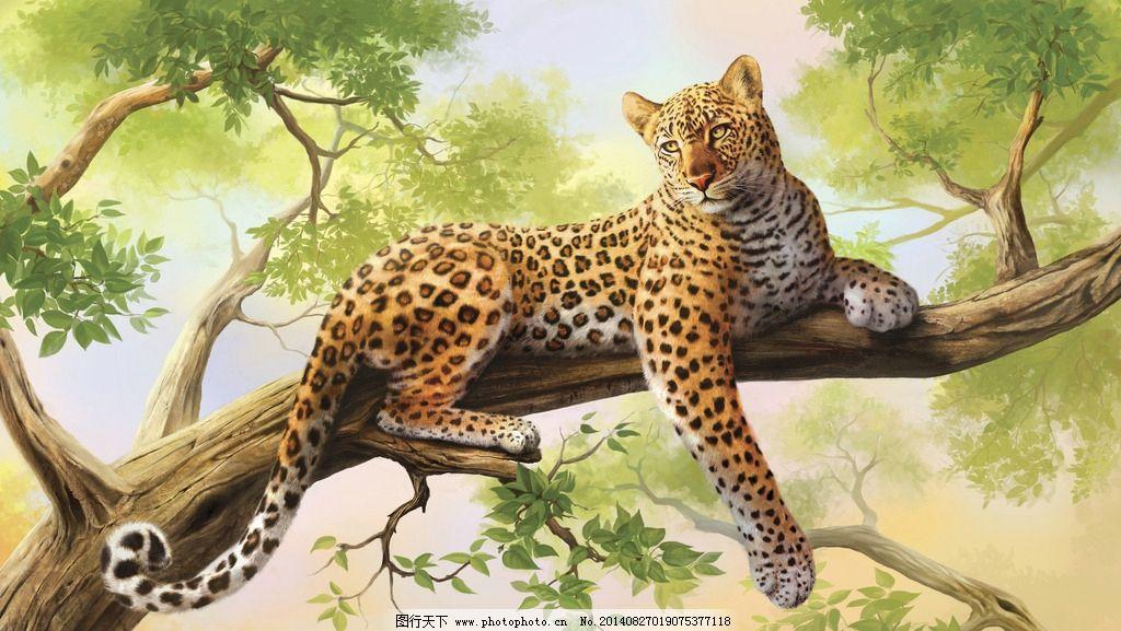 油画豹子图片