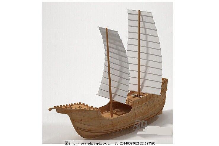 古代帆船模型免费下载 大型木船 双帆 划桨 3d模型素材 其他3d模型