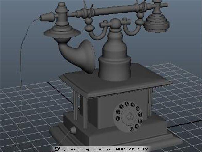 复古欧式电话游戏模型