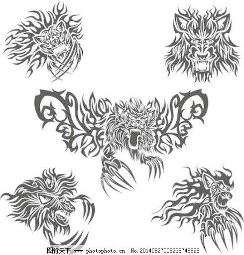 经典动物纹身图案矢量素材3免费下载 经典 狼头 图案 纹身 经典 喉咙