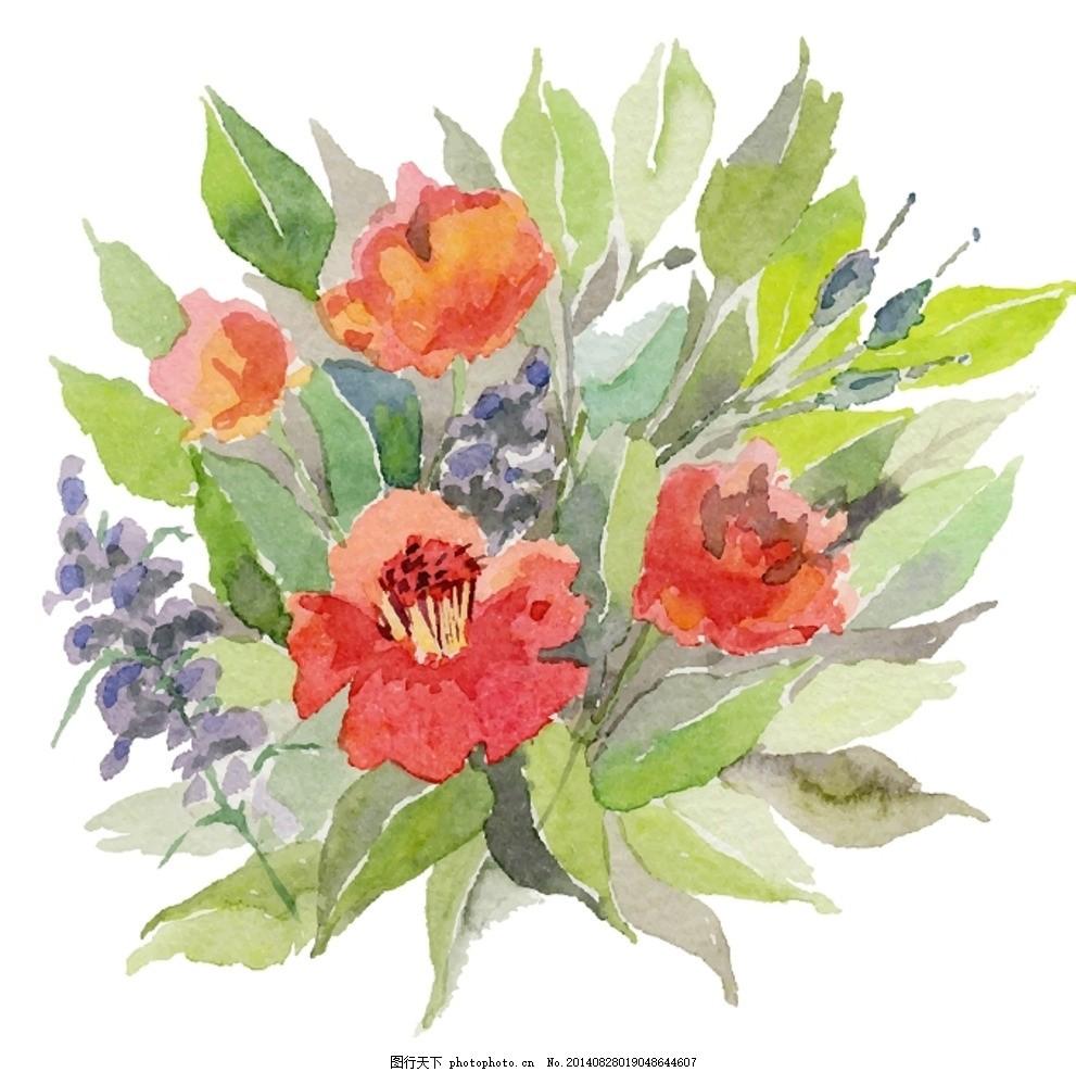 矢量水彩复古花卉 背景 边框 花框 花朵 鲜花 水墨 水彩画 水彩花朵