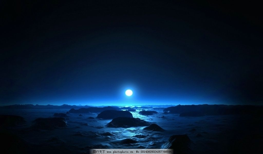 蓝色月光侦探礹.+y��_唯美月光 意境 蓝色 素材图片