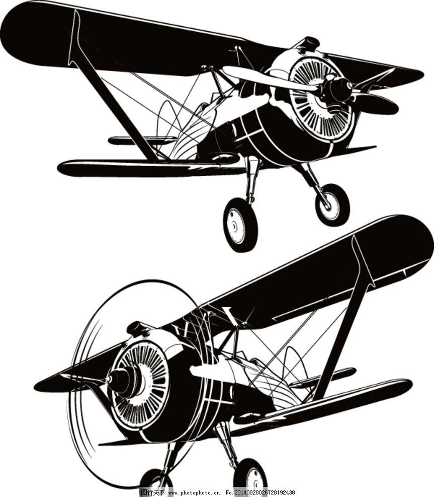 飞机 手绘 老式飞机 交通工具