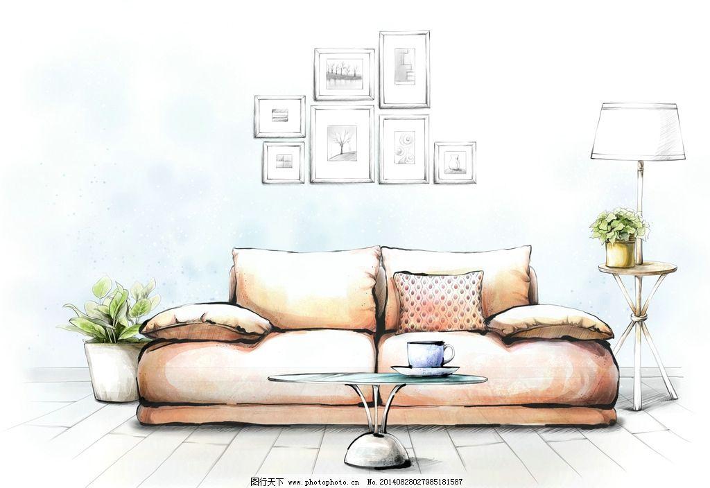 手绘画 室内 装饰画 沙发背景墙