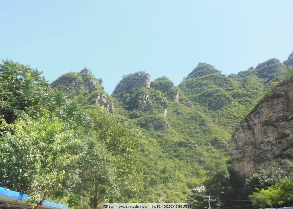 孤山寨风景 青山 山峰 蓝天 白云 树木 绿草 风景图片 自然风景 自然