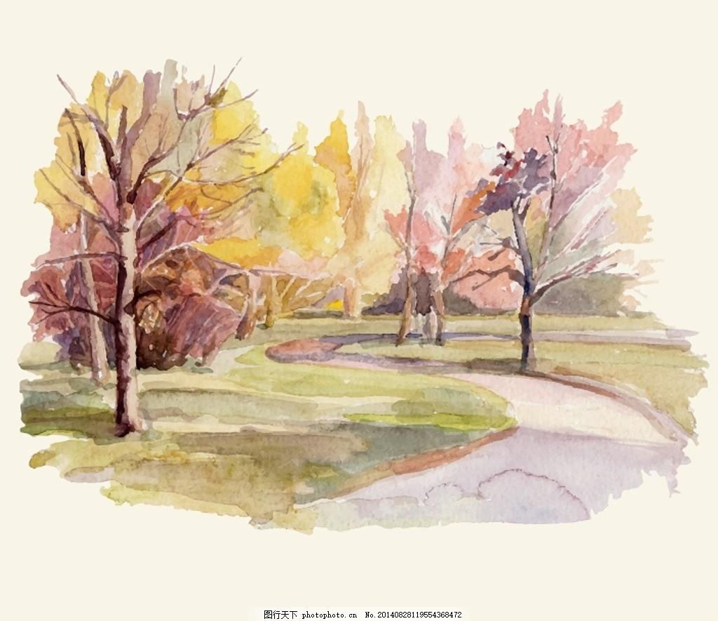 矢量水彩画风景 背景 底纹 笔刷 水墨 绘画 插画 自然 街景