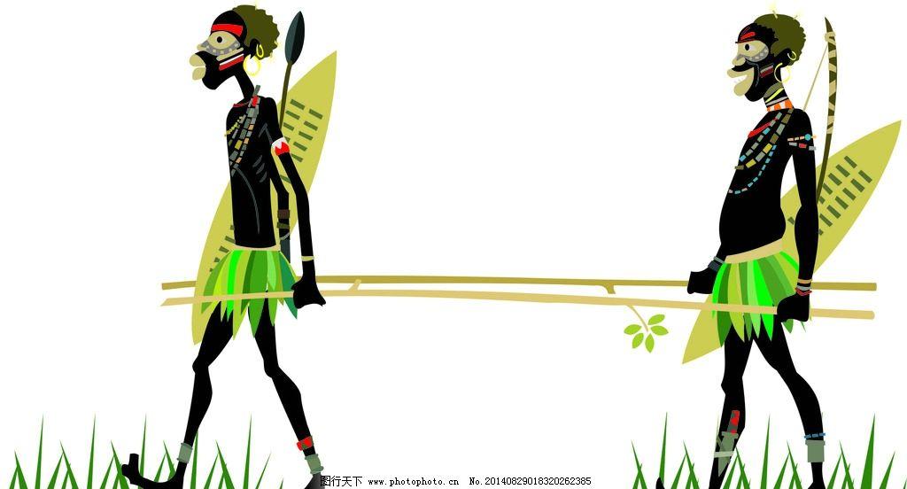 非洲部落 野人 黑人 矢量图