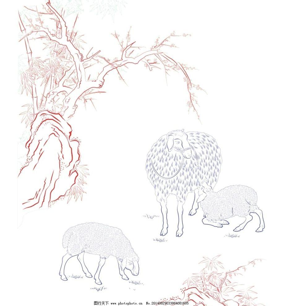 三阳开泰 羊 三羊开泰 适量 线描 勾线 图片素材 其他 设计 ai